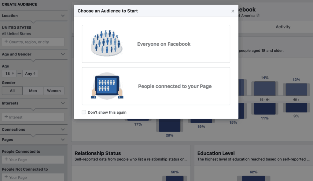 Facebook Audience Insights Main Page View