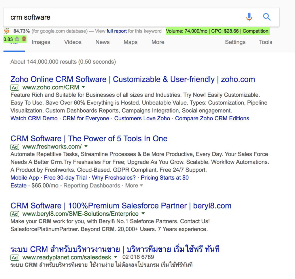 Google Search results for CRM software
